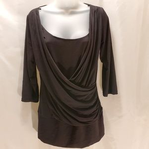 NWT Womens scoop neck blouse size large black